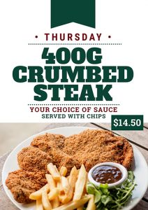 400g Crumbed Steak Thursday